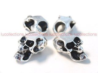 10) Metal Skull Beads for Paracord Bracelets Lanyards Antique Silver