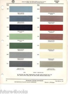 PPG Ditzler Paint Color Chip Card Automotive Finishes + Supplement