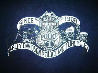 HARLEY DAVIDSON Police MOTORCYCLES Work T Shirt Motor Clothes Vtg Rare