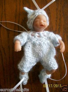Blue Outfit Doll Clothes for ooak hand sculpted baby BOY 4 5 3 pc