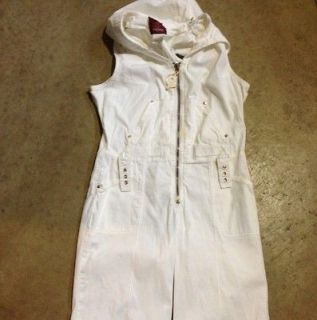 Baby Phat Large White Jumpsuit Romper Hooded Catsuit