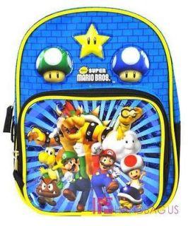 Super Mario Wii 10 Inch Mini School Backpack Luigi Bowser Toad Goomba