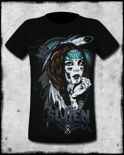 SULLEN CLOTHING NATIVE AMERICAN GIRL MENS BLACK TEAL GOTH TATTOO SS