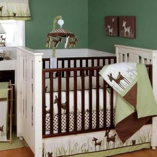Green & Brown Deer Organic Neutral Baby Nursery 4p Crib Bedding Set