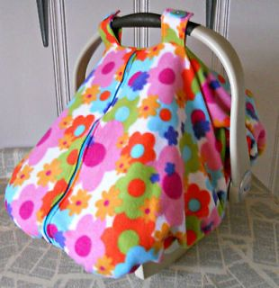 Warm Fleece Baby Car Seat Carrier Canopy Cover Retro Flowers, FREE