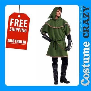 SHERWOOD FOREST ARCHER ROBIN HOOD TUNIC ADULT MENS FANCY DRESS