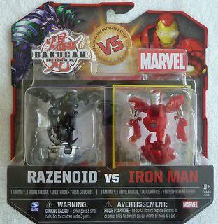 BAKUGAN VS MARVEL, RAZENOID VS. IRON MAN RED W/SILVER SET VHTF
