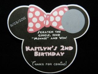PERSONALIZED MINNIE MOUSE BIRTHDAY PARTY BABY SHOWER SCRATCH OFF LOTTO