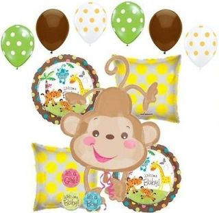 11pc Welcome Baby Monkey Balloon Bouquet Decoration FisherPrice Boy