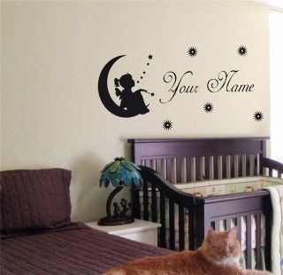 PERSONALIZED BABY NAME TINKERBELL FAIRY WALL STICKER BOY GIRL ROOM 09