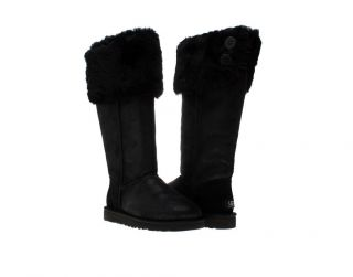 UGG Australia Over The Knee Bailey Button Black Womens Winter Boots