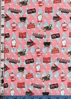 Fabric Miller 50s DINER MOTEL SIGNS PINK GRAY DIAMONDS