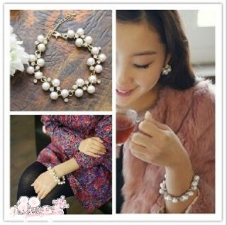 New Fashion Cute Charm Lovely Pearl Crystal Bowknot Bangle Bracelet