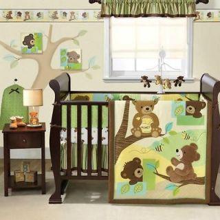 Brown Neutral Bear Nursery Animal 4pc Baby Crib Bedding Set (Boy/Girl