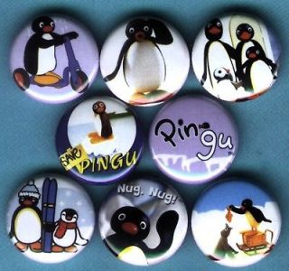 Pingu the Penguin Set of 8 Pins Buttons Badges *cute*