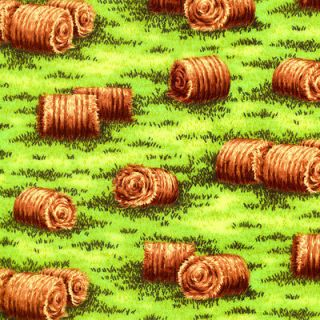 Living Farmer Ranch Haybales Round Hay Bales Novelty Quilting Fabric