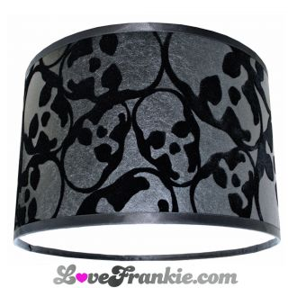 Barbara Hulanicki Wallpaper Lampshade Flocked Skulls 12 x 8 HANDMADE