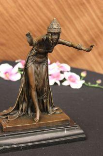 SIGNED CL.JR.COLINET, bronze art deco dancer sculpture Nouveau Marble