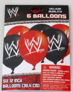 pack WWE Logo Black Red 12 inch Party Balloons New