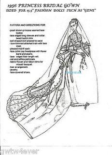 GENE / BARBIE / FM doll Princess GRACE KELLY 1956 BRIDAL WEDDING Gown