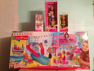 Barbie Sisters Cruise Ship Boat Play Set +3 Barbie Dolls Stacy Chelsea