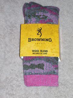 BROWNING SOCKS   CAMO WOOL BLEND   #9064   MEDIUM   GRAY/PINK   FITS 9