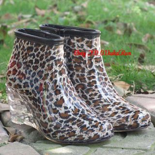 Womens Shoes Rain Boots Wedge High Heel Shoes Ankle Boots Galoshes US