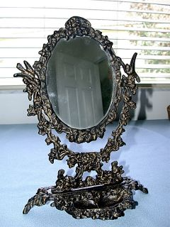 Antique Metal Victorian Swivel Vanity Table Mirror