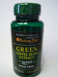 GREEN COFFEE BEAN Extract, 400 mg., with Svetol and Yerba Mate