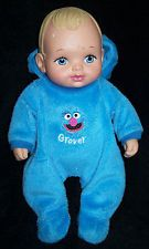 Rare 1990 Lauer Waterbabies Baby Doll in Sesame Street Grover Outfit