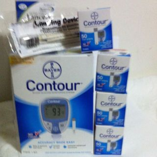 Bayer Contour Blood Glucose,200 Test Strips Free Meter+ Lancets