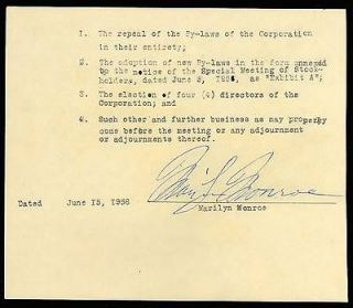 MARILYN MONROE AUTOGRAPH ON DOCUMENT   EXTREMELY RARE