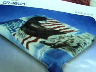 WOLF, EAGLE AND AMERICAN FLAG QUEEN SIZE BLANKET