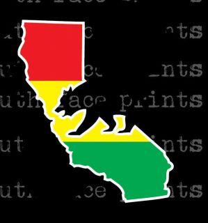 Rasta California State Bear Outline Vinyl Decal Sticker CUSTOM