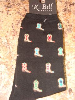 COLORFUL COWBOY BOOTS BLACK K. BELL SOCKS