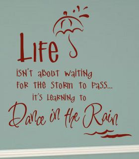 ABOUT WAITING FOR THE STORM DANCE RAIN Vinyl Wall Decal Sticker Word