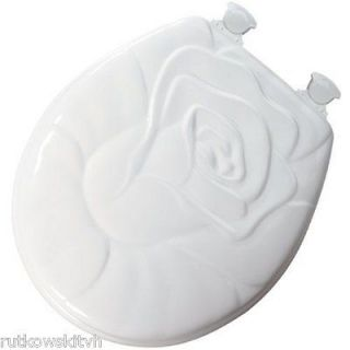 Bemis White Round Rose Sculptured Molded Wood Toilet Seat with Lift