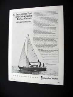 Islander Yachts 37 MS motor sailer yacht 1970 print Ad
