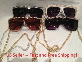 Fashion Sunglass with Chains Lady Gaga Snookie Jersey Shore Gold