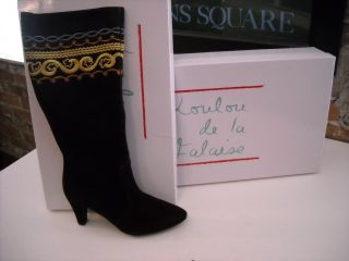 LouLou de la Falaise Brown Suede Embroidered Boots