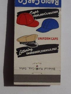 Matchbook Radio Cap Co. Military Uniform Hats San Antonio TX Bexar Co