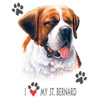 Dog Tshirt I Love My St. Bernard Cute Puppy Pet Paw Canine