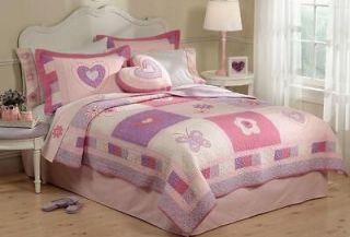 PC Spring Hearts Full/Queen Quilt & Shams Butterfly Butterflies Pink