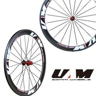 UAM 50mm 700C Carbon Road/TT bike Tubular Wheels/Wheelsets with Red
