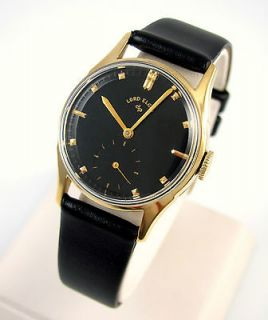 Lord Elgin 14k Gold Black Dial Leather Band Mens Watch │J BIX