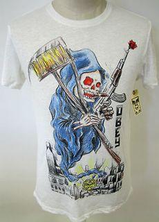 OBEY CLOTHING REAPER MENS BURNOUT TEE SHIRT PENCIL SKETCH DEATH ART