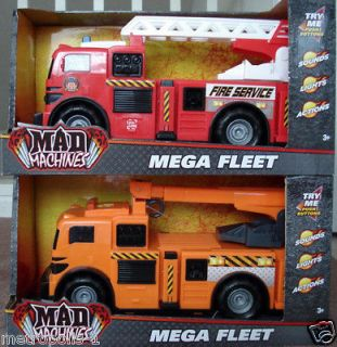 ,MEGA FLEET,19 FIRE TRUCK,CRANE TRUCK TOY,LIGHTS,SOUNDS,ACTION,NEW