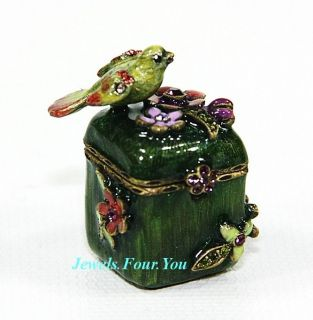 JAY STRONGWATER AMAZING MINI SONGBIRD GREEN TRINKET BOX SWAROVSKI NEW