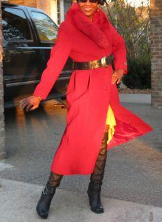 New full length Bill Blass Red Cashmere & Wool fox Fur Coat jacket