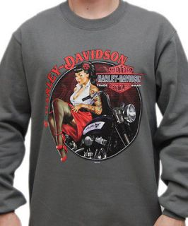 Harley Davidso n Mens Vintage Pin Up Girl Grey Pullover Crew Neck